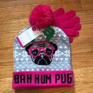 BAH HUM PUG Light Up Hat & Glove SET